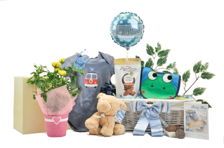 Baby Boy Gift Basket With Flowers