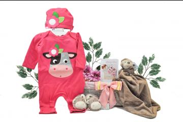Baby Girl Little Monkey Gift Basket